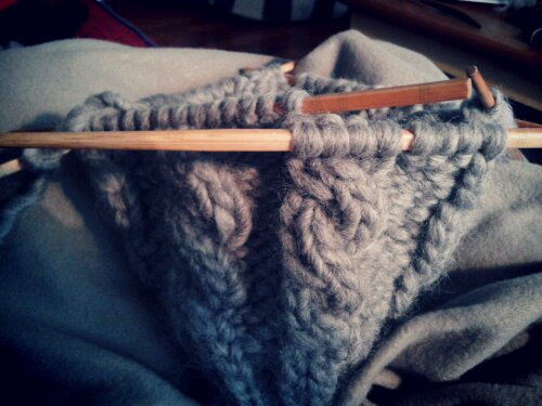 knitting with chopsticks